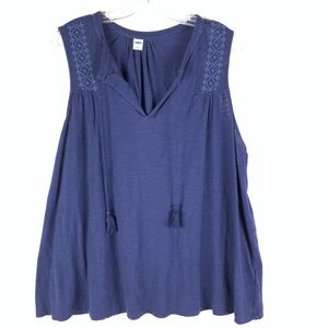 Old Navy blue embroidered sleeveless top tassels